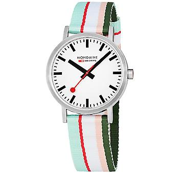 Mondaine Classic Multicolored Textile Strap White Dial Quartz Men's Watch A660.30360.16SBS 40mm