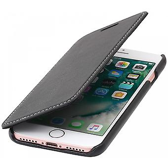 Case For Se (2020) / IPhone 8 / IPhone 7 Book Type Black Nappa In True Leather Without Closing Clip