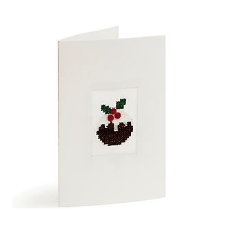 Sewing Kit to Make a Cross Stitch Greeting Card - Christmas Pudding
