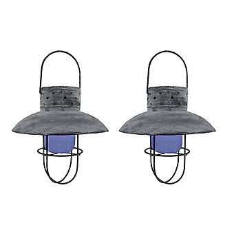 Set of 2 Distressed Finished Hanging Solar Powered Lanterns 9