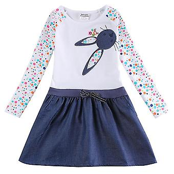 Casual Floral Embroidery Girls Dress, Dotty Rabbit, Infant