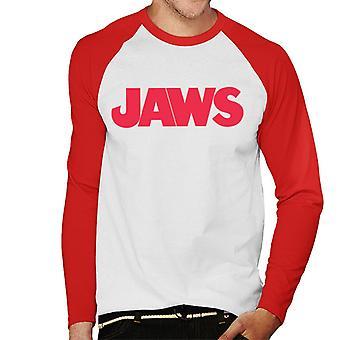 Jaws Text Logo Men's Baseball Long Sleeved T-Shirt