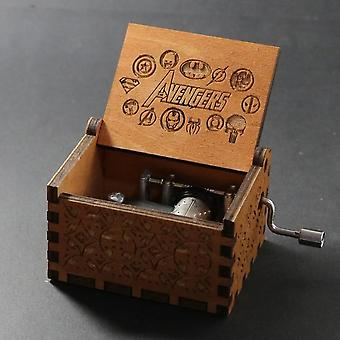 Avengers Engraved Wooden Hand Crank Music Box