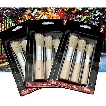 Pennello stencil di legno - pittura di gesso naturale puro hog setole pennello rotondo acrilico acquerello pittura pennello pennelli dettaglio