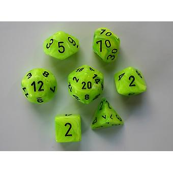 Chessex Polydice Set - Vortex Dice Bright Green/black