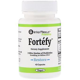 InterPlexus, Fortefy, 20 Billion CFU's, 45 Capsules