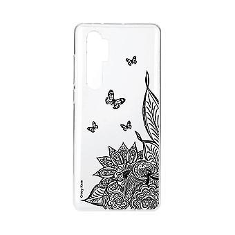 Kadłub dla Xiaomi Mi Note 10 Miękki kwiat Lite Mandala i czarny motyl