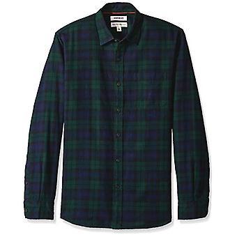 ブランド - グッドスレッドメン&アポス;s長袖ブラシフランネルシャツ、ネイビーブラック.