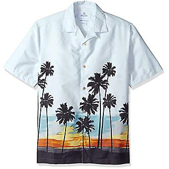 28 Palms Men's Relaxed-Fit 100% Cotton Tropical Hawaiian Shirt, Sunset Scenic...
