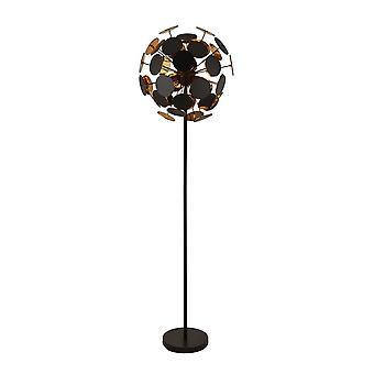 Searchlight DISCUS - 4 Light Black, Lampe de plancher d'or