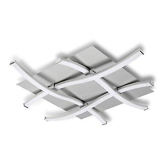 Semi Flush Plafond 34W LED 3000K, 2600lm, Zilver, Mat Acryl, Gepolijst Chroom