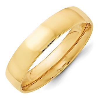 14k gult gull 5mm Ltw komfort passe Band Ring - Ring størrelse: 4-14