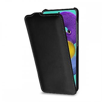 Etui Pour Samsung Galaxy A51 Ultraslim Noir Nappa En Cuir Véritable