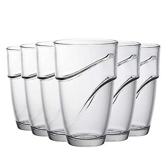 Duralex Wave Stackable Highball Cocktail Glasses - 360ml Drinking Tumblers - Pack of 6