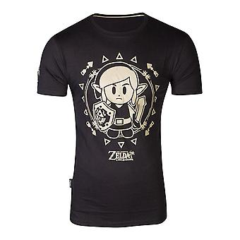 Nintendo Legend of Zelda Link's Awakening Tribal Menn's T-skjorte XX-Large Black