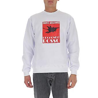 Msgm 2940mm20320759901 Mænd's Hvid Bomuld Sweatshirt