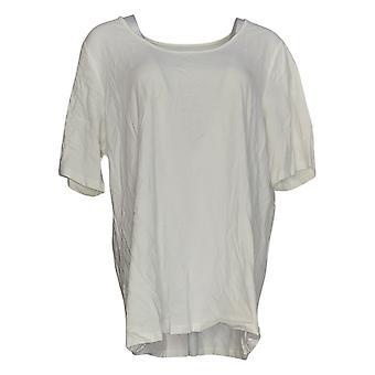 Belle por Kim Gravel Women's Plus Top Essentials Elbow Sleeve White A291216