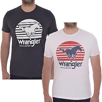 Wrangler Mens Horse Short Sleeve Crew Neck Cotton Gráfica Camiseta Tee Top