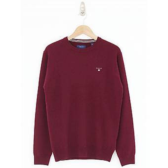 GANT Lambswool Crew Neck Knit - Burgundy