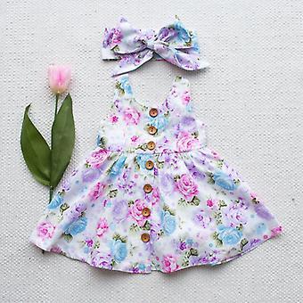 Toddler Kids Baby Girl Floral Tank Dress Match pandebånd sommer knap