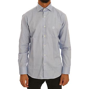 Cavalli Blue Cotton Collar Spread Slim Fit Dress Shirt