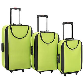 Soft luggage trolley set 3-pc. Green Oxford Fabric