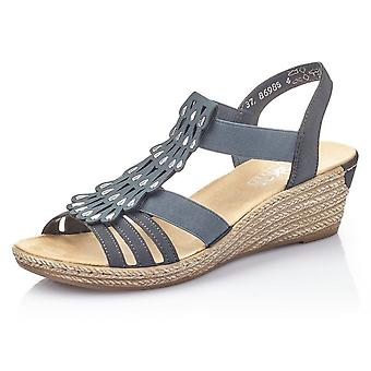 Rieker 62436-14 Fanni Low Wedge Comfortable Sandals In Navy