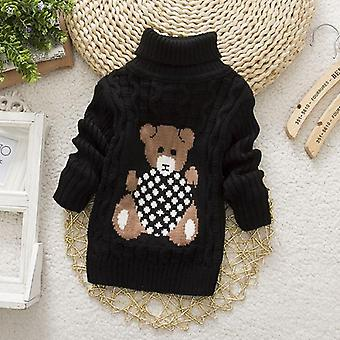 Kids Bear Print Turtleneck Pullover For Wintes