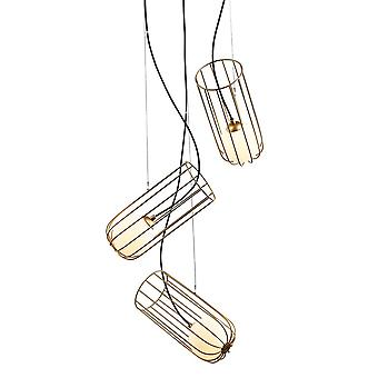 Italux What what - Moderno pendente appeso Golden 3 Light con oro, ombra bianca, G9