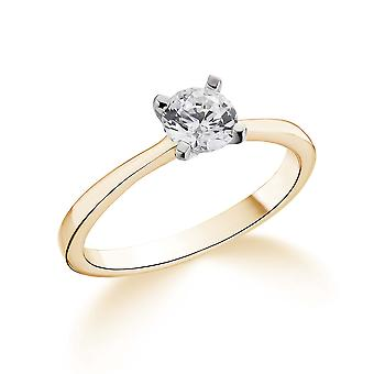 9K Yellow Gold Tiffany Style 4 Prong Setting 0.35Ct Certified Solitaire Diamond Engagement Ring