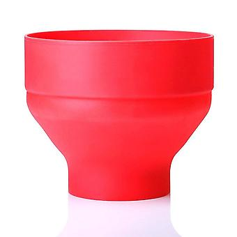 Silicone Popcorn Microwave Oven Folded Bucket High Temperature Resistant (red)