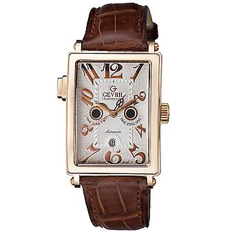 Gevril Men's Wristwatch 5150R Avenue of Americas Serenata Twin Time Zone Brown