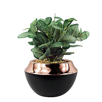 22cm Ceramic Planter Copper Band with Artificial Dark Green Mosaic Plant