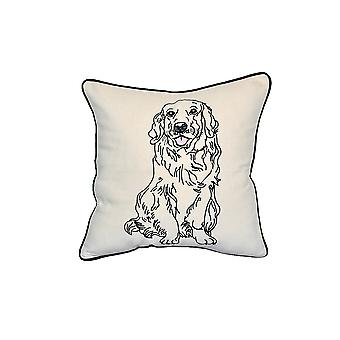 "Golden Retreiver Dog Portrait Printed Design Novelty White Cotton Pillow 15""x15"""