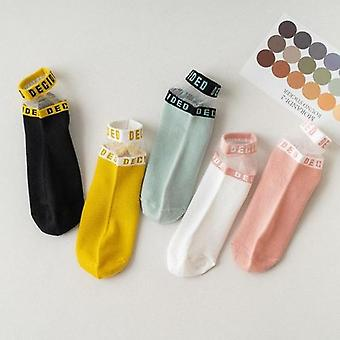 5pairs Patchwork Mesh Letter Crew Sock Set