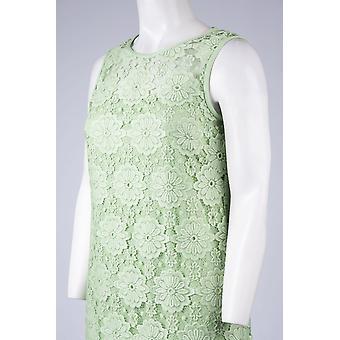 Floral Lace Sleeveless Jewel Neck Dress