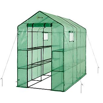 Draagbare grote wandeling in tuin kas - 2 Tier 12 Plank PE Plastic Grow House