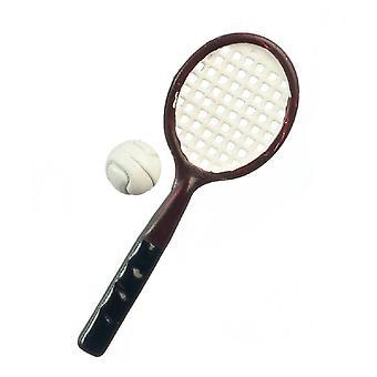 Dolls House Brown Tennis Racket & Ball Miniature Sport Games Accessory Set