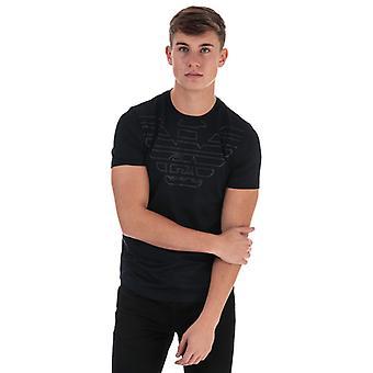 Men's Armani Outline Eagle Logo T-Shirt in Blue