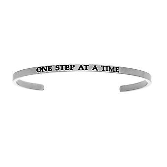 """Intuitions Stainless Steel ONE STEP AT A TIME Diamond Accent Cuff  Bangle Bracelet, 7"""""""