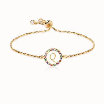 Colorful Rainbow Zircon Letter Bracelet, Snake Chain Jewelry