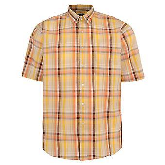 Metaphor Fawn & Gold Check Short Sleeve Shirt