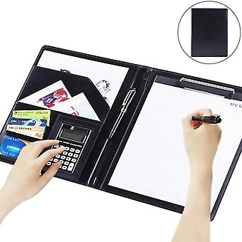 Business Style Leather Document Folder With Note Pad & Calculator