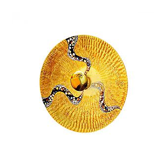 Luna Aplique De Pared De Diseño Oro De 24 Quilates 1 Bombilla Diámetro 54 Cm Kiss Gold