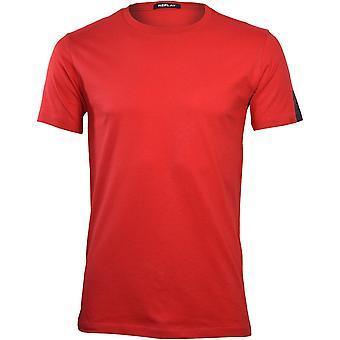 הפעלה חוזרת של חולצת טריקו עם שרוול לוגו שחור, אדום בוהק