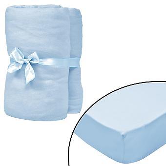 vidaXL clamping bed sheets cot 4 pcs. 40x80 cotton jersey light blue