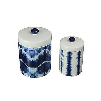 Set of 2 Blue and White Shibori Style Dyed Dolomite Ceramic Canisters