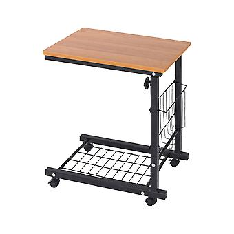Portable Bedside Table Lift Small Table Tablet Desk Small Book Shelf For Lazy People (light Brown)