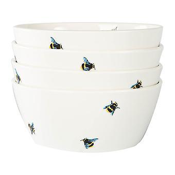 4x Bee Casual Cereal Bowls Patroon Porselein Snack Dessert Gerechten 14cm Wit