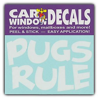"Decal, Window Decal, Pugs Rule, 4.5"" Wide"